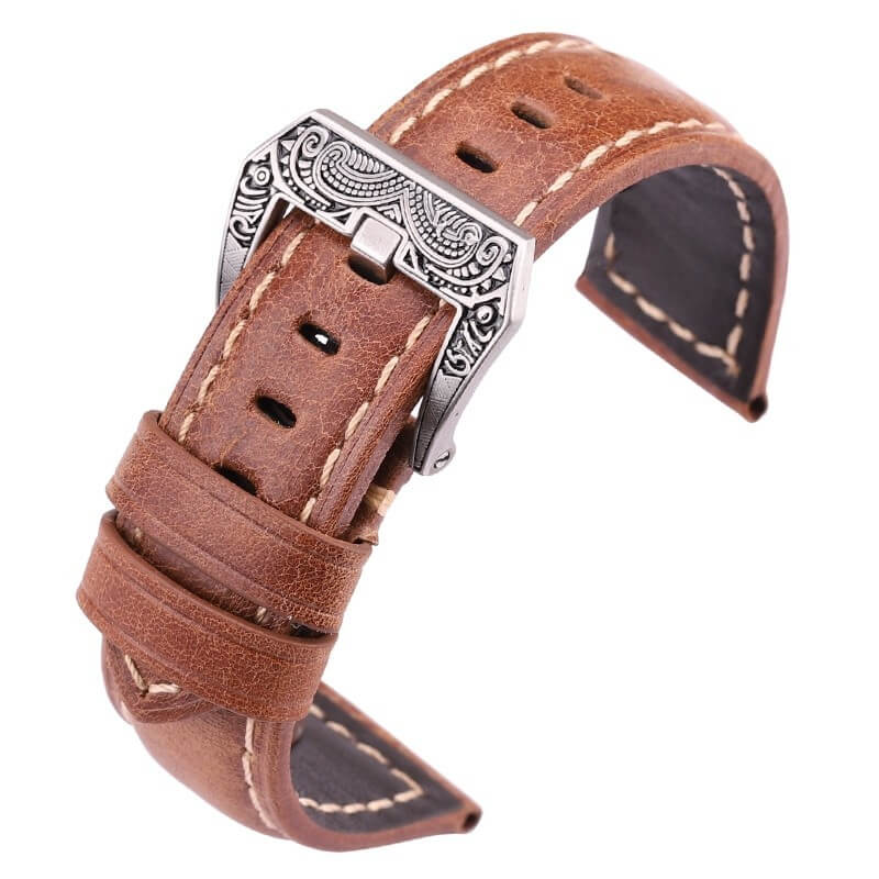 genuine-leather-watch-band-with-ornamented-buckle