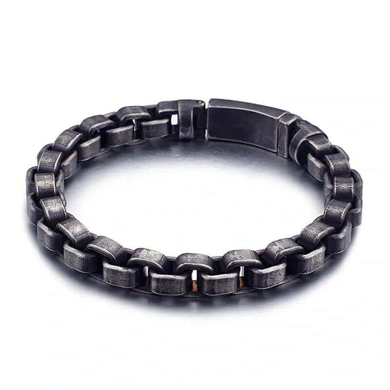 men-s-stainless-steel-box-link-chain-bracelet-with-antique-finish