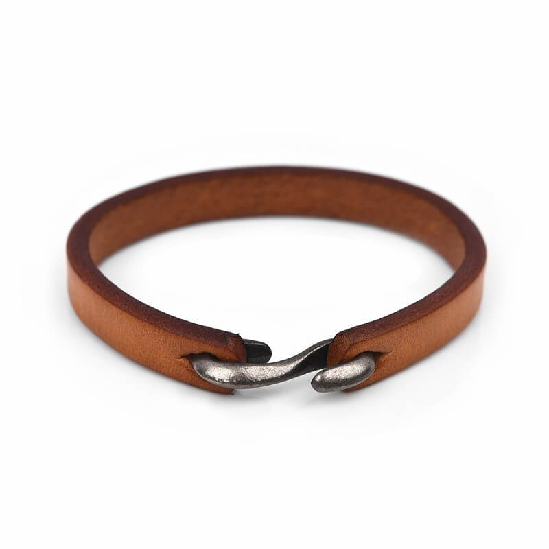 simple-elegant-genuine-leather-bracelet-with-hook-clasp-yellow-brown-20cm