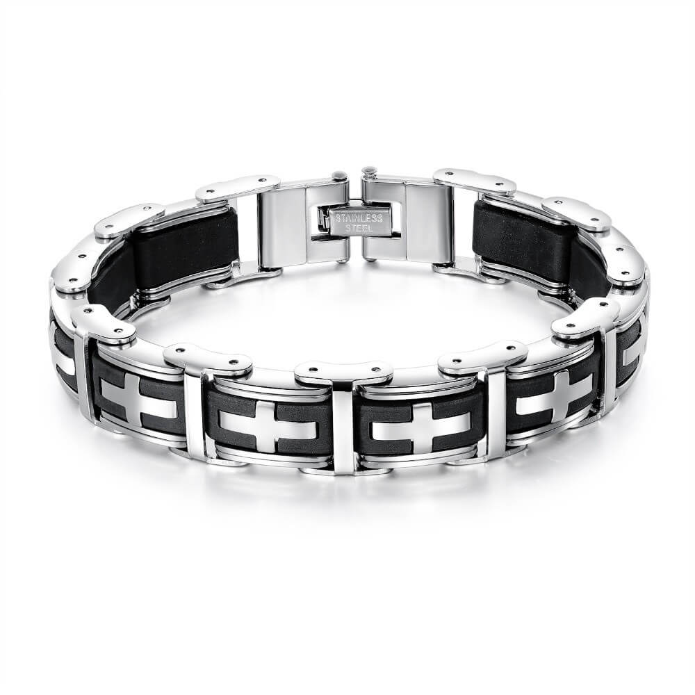 stainless-steel-and-silicone-rubber-bracelet-with-cross-design